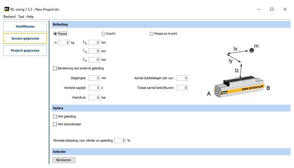 RL-Sizing tool zuigerstangloze cilinder